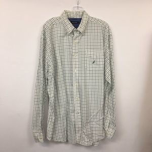 Nautica Checked Button Up Blue Green White XL